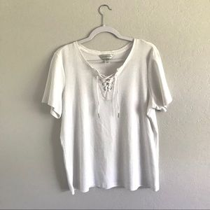SALE!! White Lace Up Tee Christopher & Banks